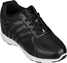 CALTO Men's Invisible Height Increasing Elevator Shoes - Black Leather/Mesh Lace-up Super Lightweight Trainer Sneakers - 3 Inches Taller - G3304