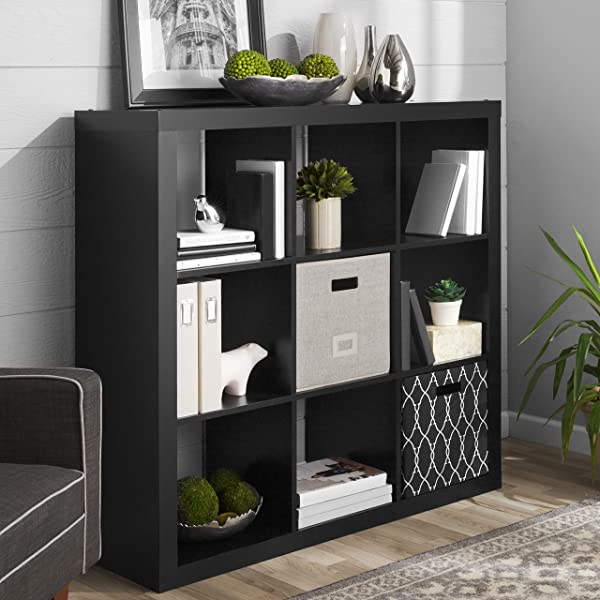 Better Homes Gardens 9 Cube Storage Organizer Solid Black