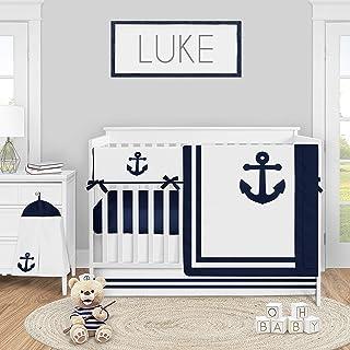 Sweet Jojo Designs Navy Blue Nautical Anchors Baby Boy Nursery Crib Bedding Set - 5 Pieces - Anchors Away