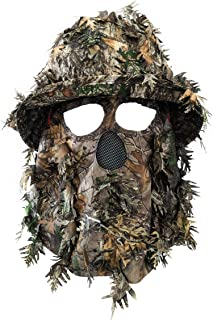 3D Leafy Face Mask Bucket Hat for Hunting Realtree Xtra Camo Boonie Hat for Turkey Hunting (Medium, 60cm Fitted Hat)