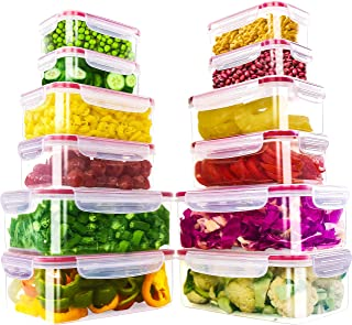 Utopia Kitchen 24 Piece Plastic Food Containers Set [ 12 Containers & 12 Lids ] with Airtight Lids-Freezer & Microwave Saf...