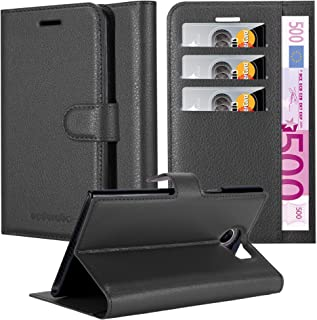 Cadorabo Book Case Works with BlackBerry PRIV in Oxid Black – with Magnetic Closure, Stand Function and Card Slot – Wallet Etui Cover Pouch PU Leather Flip