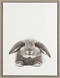 Kate and Laurel Sylvie Rabbit Black and White Portrait Gray Framed Canvas Wall Art by Simon Te Tai