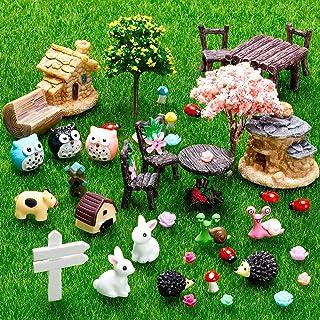 Skylety 64 Pieces Miniature Fairy Garden Accessories Mini Animals Miniature Ornament Kit Animal Figurines Animals Miniatur...