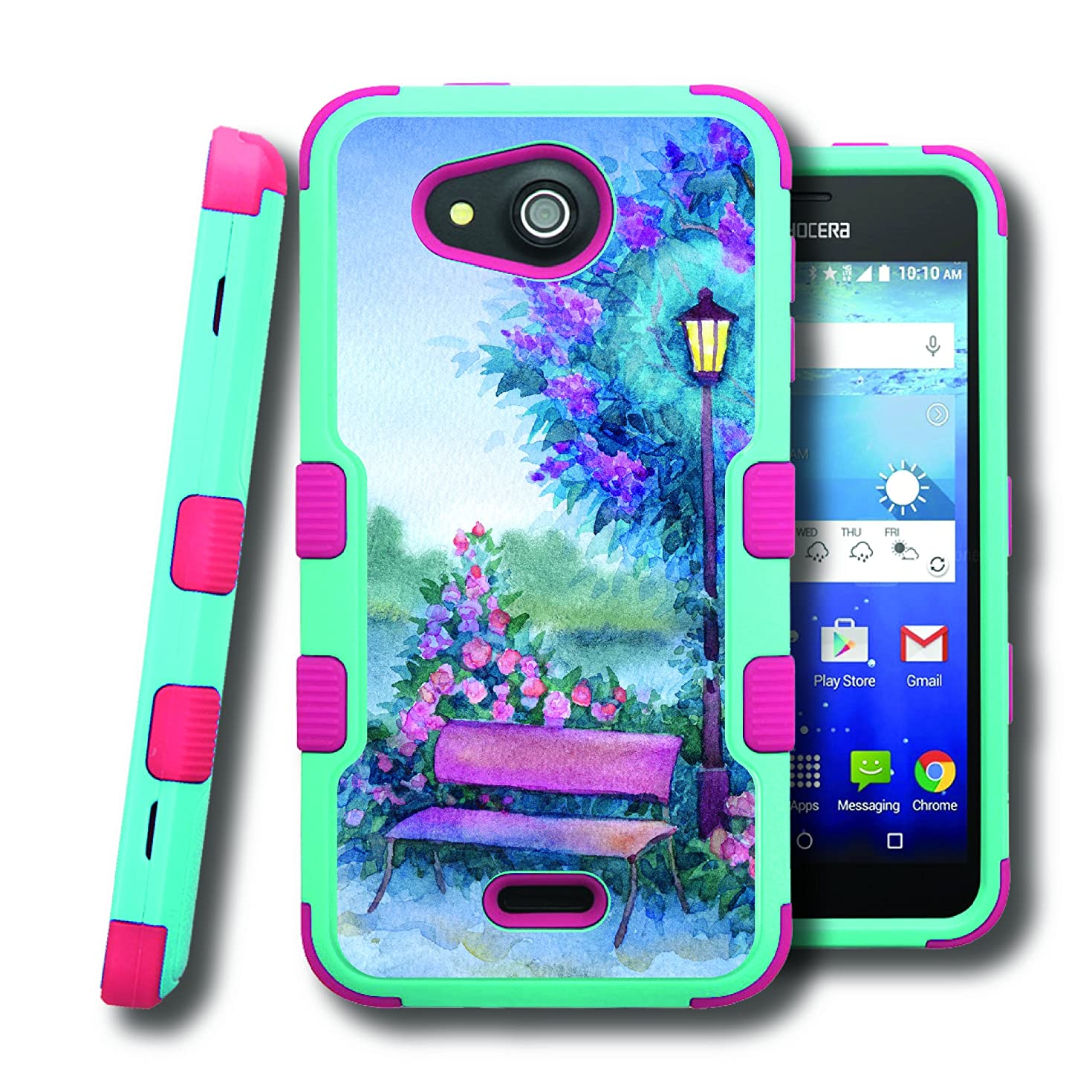 Hydro Wave Case, CASECREATOR[TM] For Kyocera Hydro Wave / Kyocera C6740 (T-Mobile, MetroPCS) -- NATURAL TUFF Hybrid Rubber Hard Snap-on Case Pink Teal Blue-Lamp Post Bench