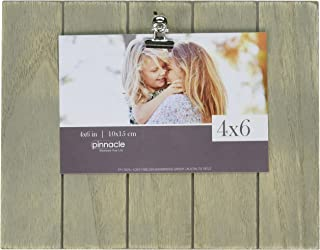 Pinnacle Frames and Accents Farmhouse Pallet Wood Shiplap Clip Tabletop Picture Frame, Grey