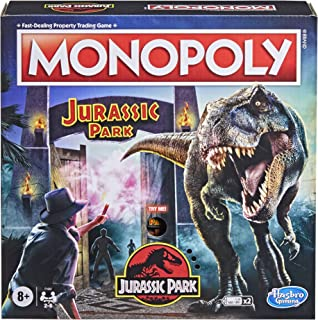 Monopoly: Jurassic Park Edition Board Game for Kids Ages 8 and Up, Includes T. Rex Monopoly Token, Electronic Gate Plays S...