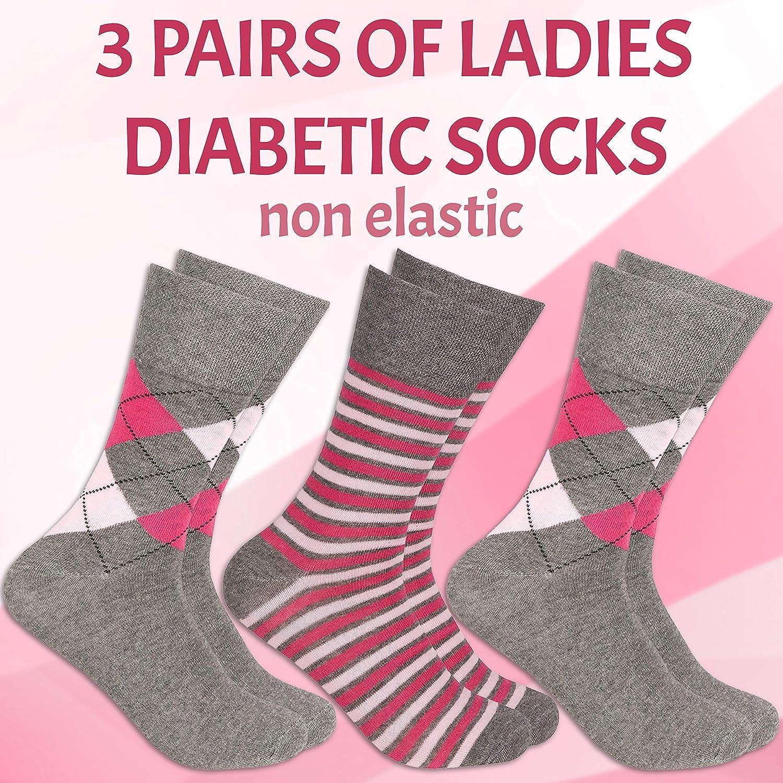 3 Pairs Ladies Womens Non Elastic Loose Top Socks Grip Diabetic Floral Roses New