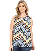 Vince Camuto Specialty Size - Plus Size Sleeveless Chevon Frenzy Shirttail Blouse