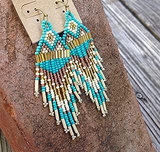 Vintage Rustic Turquoise Blue Handmade Beaded Earrings
