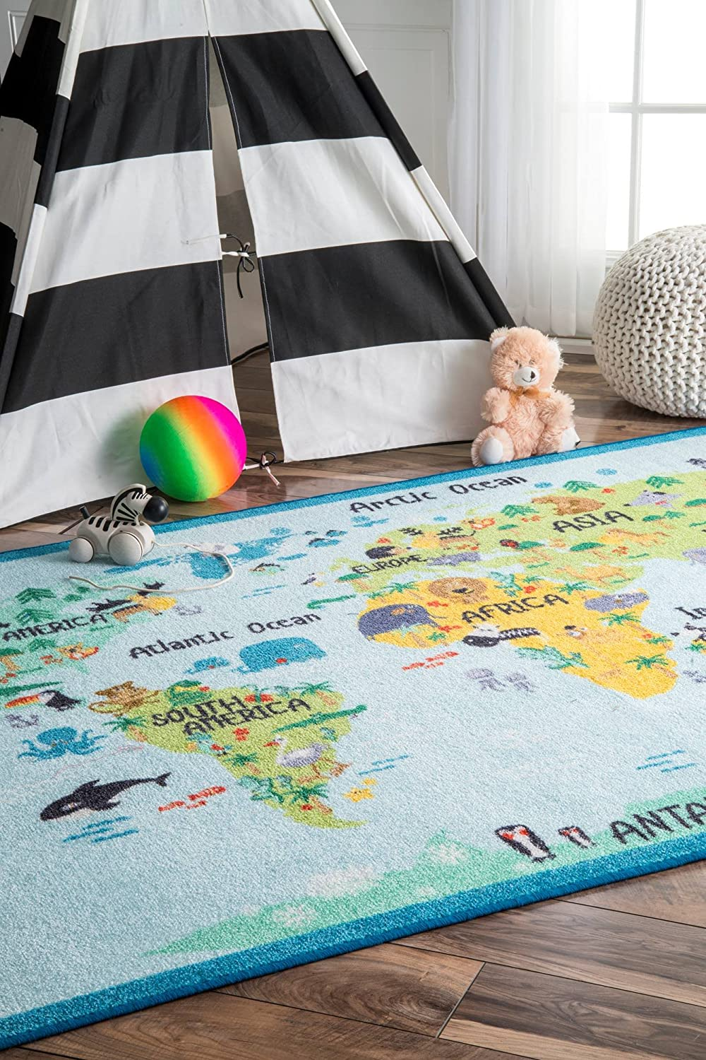 nuLOOM Animal Max 78% OFF World Map Kids Area Rug x 5' Baby 3' Deluxe Blue 3