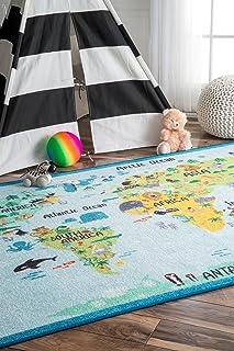 nuLOOM MCGZ10A Animal World Map Kids Rug, 5' x 7' 5