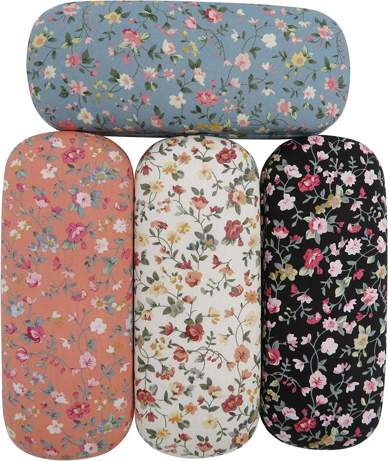 Dodoga 4 Pieces Spectacle Case Portable Hard Shell Eyeglasses Case Floral Flower Fabric Covered Clam Shell Style Eyeglass Case Spectacles Box Eyewear Protector Box for Kids, Women, Girls
