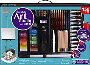 Daler Rowney Complete 150-Piece Art Studio with Aluminum Field Easel Includes Acrylic Paints, Oil Pastels, Watercolors, Brushes, Drawing Pencils, and More in Portable Storage Box, 196500603