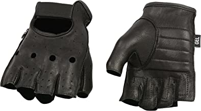 Shaf International SH851-BLK-L Deer Skin Fingerless Gloves with Gel Padded Palm (Black, Large)