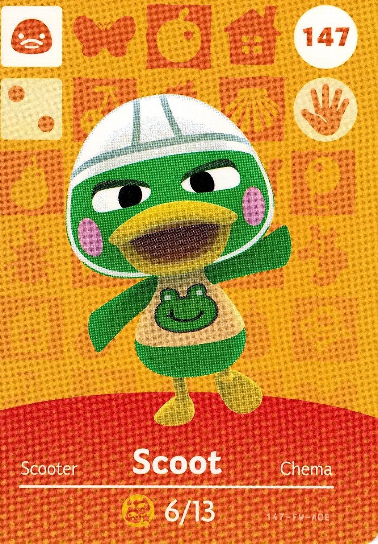 Nintendo Animal Crossing Happy Home Designer Amiibo Card Scoot 147/200 USA Version
