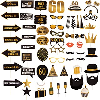 60th Birthday Party Photo Booth Props - 60-Piece Selfie Props for Her Him, Big 60 Birthday Decorations for Men and Women, Gold and Black