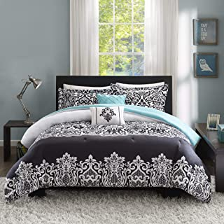 Intelligent Design Leona Comforter Full/Queen Size-Black, Aqua, Damask – 5 Piece Sets – Teen Bedding for Girls Bedroom
