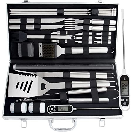 ROMANTICIST 28pc BBQ Accessories Set with Thermometer - The Very Best Grill Gift on Birthday Wedding - Heavy Duty Stainless Steel Grill Set in Case for Outdoor Cooking Camping Grilling Smoking