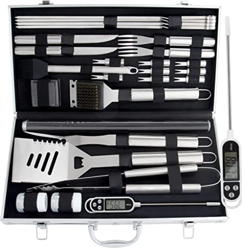 ROMANTICIST 28pc BBQ Accessories Set with Thermometer - The Very Best Grill Gift on Birthday Wedding - Heavy Duty Sta...