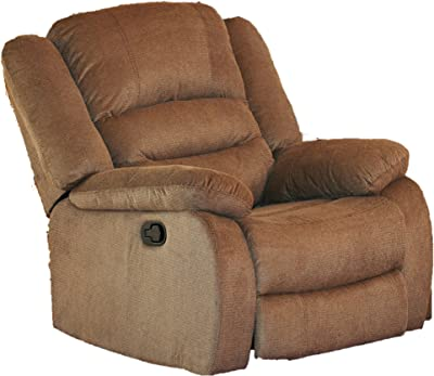 Container Furniture Direct Nadia Contemporary Microfiber Recliner Chair, Dark Brown, Light Bown