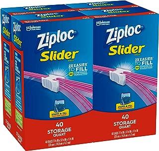 Ziploc Slider Storage Bags, Quart, 4 Pack, 40 Ct (160 Total Bags)