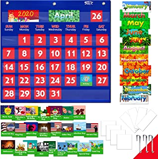 Blue Calendar Pocket Chart with 76 Cards,(68 Illustrated Activity Cards, 8 Dry Erasable Flash Cards and 3 Hooks)