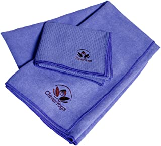 Clever Yoga Travel Towel Beach Set - Fast Dry and Super Absorbant Large and Small Purple Towels