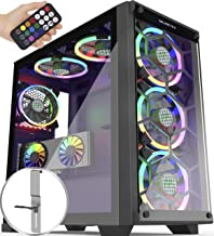 MUSETEX 5×140mm & 1×120mm ARGB Fans Voice Remote Control Mid-Tower Case with 2 PCS x USB 3.0 Ports Tempered Glass Panels P...