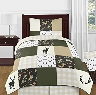 Sweet Jojo Designs Green and Beige Deer Buffalo Plaid Check Woodland Camo Boy Twin Kid Childrens Bedding Comforter Set - 4 Pieces-Rustic Camouflage