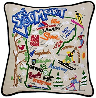 catstudio Ski Vermont Embroidered Decorative Throw Pillow | Beautiful Award Winning Home Decor Artwork | Great for The Living, Family, Bed Rooms