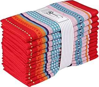 Ramanta Home 12-Pack Mexican Multi-Colored Stripe 100% Cotton Dinner Napkin Oversized 20x20 with Mitered Corners & Generous Hem