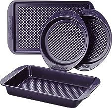 Farberware 47135 Nonstick Bakeware Set with Nonstick Cookie Sheet/Baking Sheet, Baking Pan and Cake Pans - 4 Piece, Purple