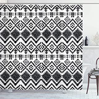 Ambesonne Tribal Decor Shower Curtain by, Hand Drawn Tribal Pattern Geometric and Decorative Aztec Design Print, Fabric Bathroom Decor Set with Hooks, 70 Inches, Black and White