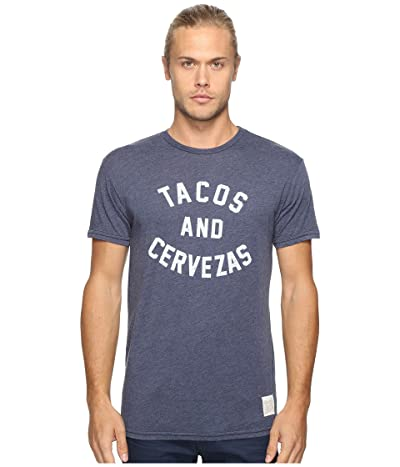 The Original Retro Brand Short Sleeve Heathered Tacos and Cervezas Tee (Heather Navy) Men