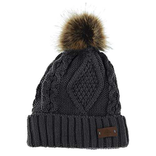 6ede0b21d44 ANGELA   WILLIAM Women s Winter Fleece Lined Cable Knitted Pom Pom Beanie  Hat