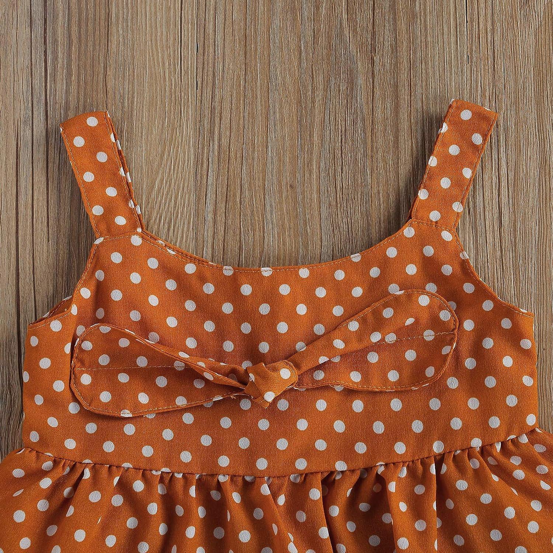 Toddler Baby Girl Strap Bowknot Crop Tops Ruffle Skirt Irregular Dress 2PC Polka Dot Outfit