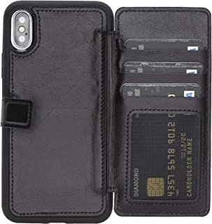 Verona Handmade Slim Fit Premium Leather Wallet Stand Case Extra Secure w/ [RFID Protection]   Snap-On Flip Back Cover w/ID & Credit Card Slots & Magnetic Closure for iPhone Xs/X (Rustic Black)
