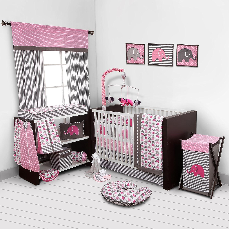 Elephants Pink Grey 10 pc Crib Set Including Bumper Pad