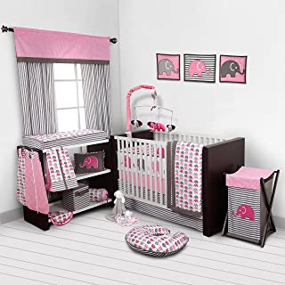 Bacati - Elephants Pink/Grey 10-Piece Nursery in a Bag Girls Crib Baby Bedding Set with Bumper Pad