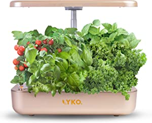 Hydroponics Growing System LYKO 12Pods Indoor Herb Garden with LED Light Cycle Timing Function Height Adjustable for Kitchen Champagne Gold