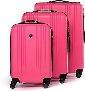 FERGÉ Set 3 valises rigides à 4 roulettes Marseille Ensemble de Bagages (XL, M, 55 cm) Trolley Voyage Pink