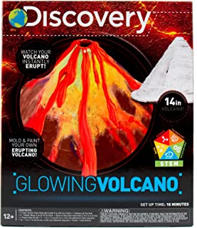 Discovery Build & Color Your Own Glowing Volcano by Horizon Group USA, Great Stem Science Kit, Perform Science Fair Experiments with DIY Fizzy & Lava Eruptions