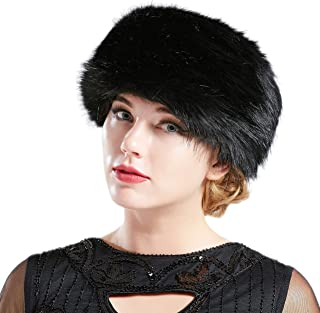 BABEYOND Women's Faux Fur Hat Russian Cossack Cap Hat Faux Fur Cap Winter Wrap Hat for Women