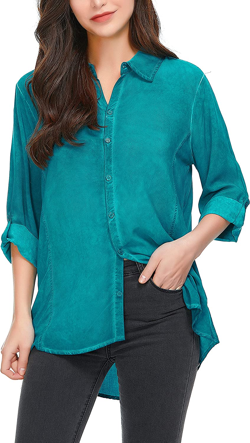 Welsters Womens Blouses 3/4 Sleeve Shirts for Summer Casual Button Down Shirts Button Up Shirts S-3XL