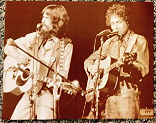 George Harrison and Bob Dylan Playing At the Concert for Bangladesh Sepia Poster