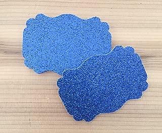 50 Blank Royal Blue Glitter Scalloped Edge Bracket Hang Tags Tag - Baby Girl Birthday Wedding Party Card