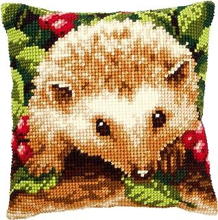 Vervaco Igel mit Beeren Kreuzstichkissen/Stickkissen vorgedruckt, Baumwolle, Mehrfarbig, 40 x 40 x 0.3 cm