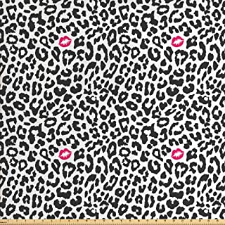 Ambesonne Safari Fabric by The Yard, Leopard Cheetah Animal Print with Kiss Shape Lipstick Mark Dotted Trend Art, Decorative Fabric for Upholstery and Home Accents, 1 Yard, Pink Grey