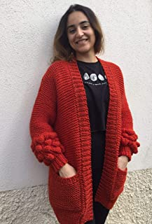 Chaqueta de punto o cárdigan, color rojo-terracota, talla S-M, de acrílico, para mujer